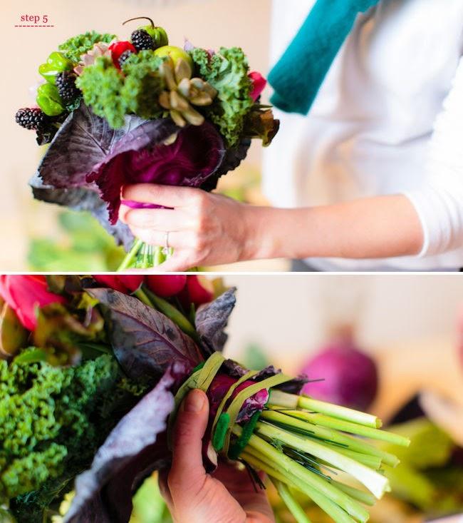 ramo novia con frutas y vegetales