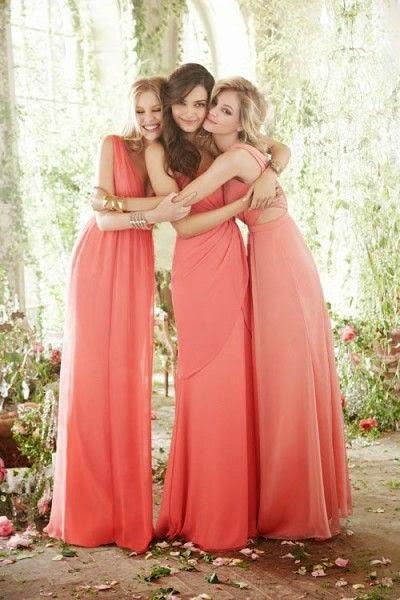 damas de honor vestido coral
