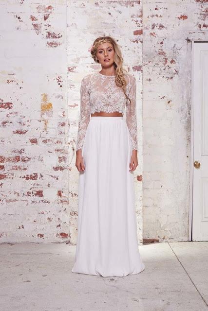 vestido novia crop top