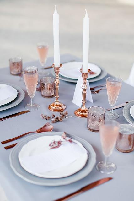 decoracion mesa boda rosa cuarzo y oro
