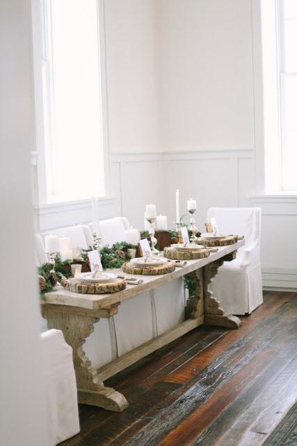 mesa navidad boda rustica