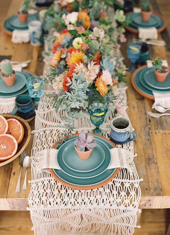 mesa sin mantel camino mesa macrame