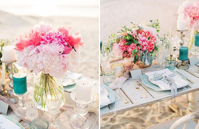 centros mesa boda playa