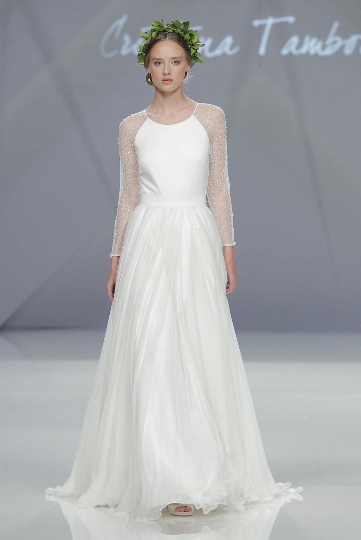 manga larga vestido novia cristina tamborero 2017