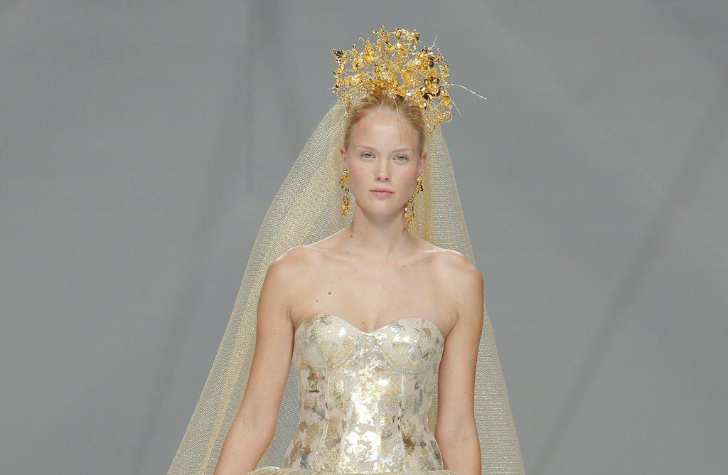 naeem khan 2017 wedding dress gold