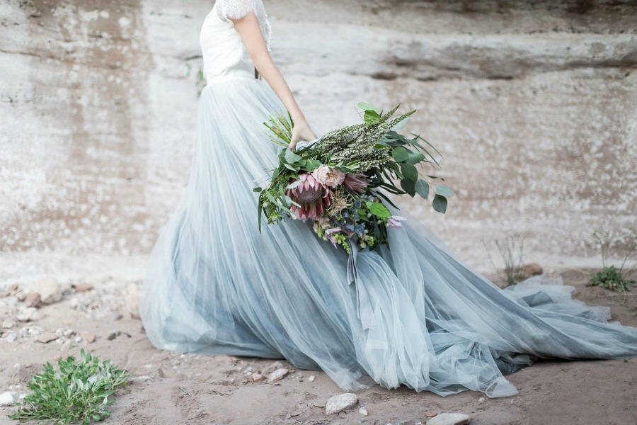 falda azul tul novia boda