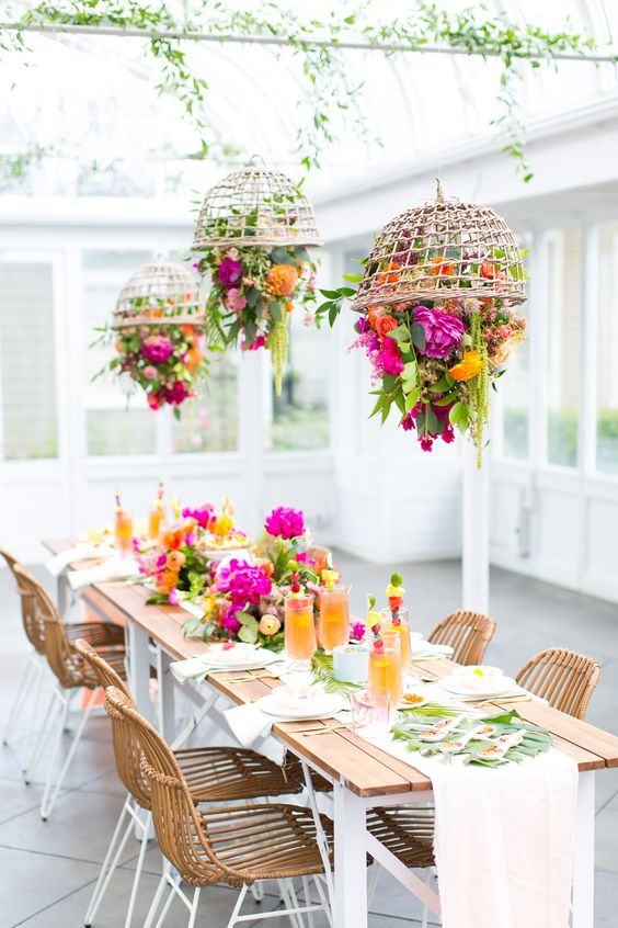 colour wedding hanging centerpiece