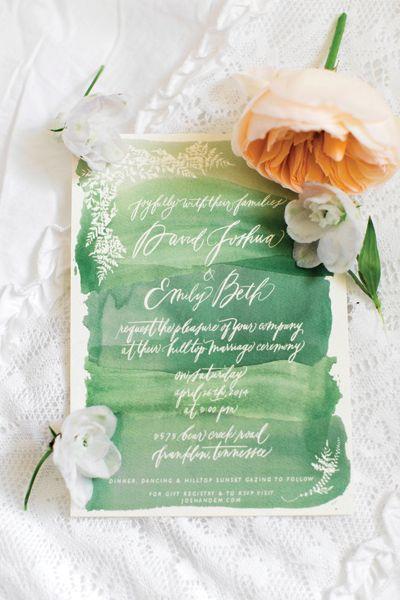 invitacion bodas verde pantone
