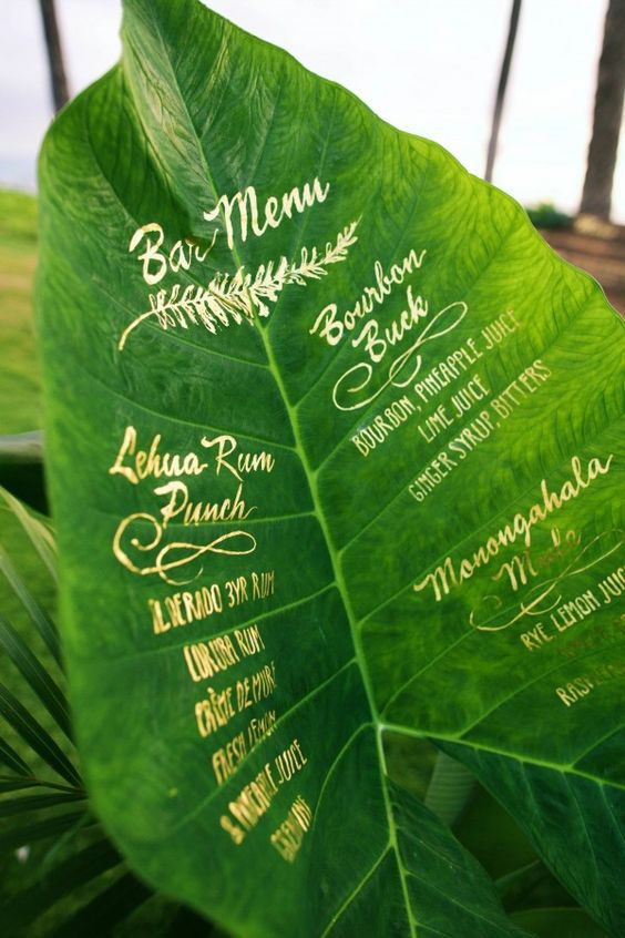 menu boda greenery pantone 2017