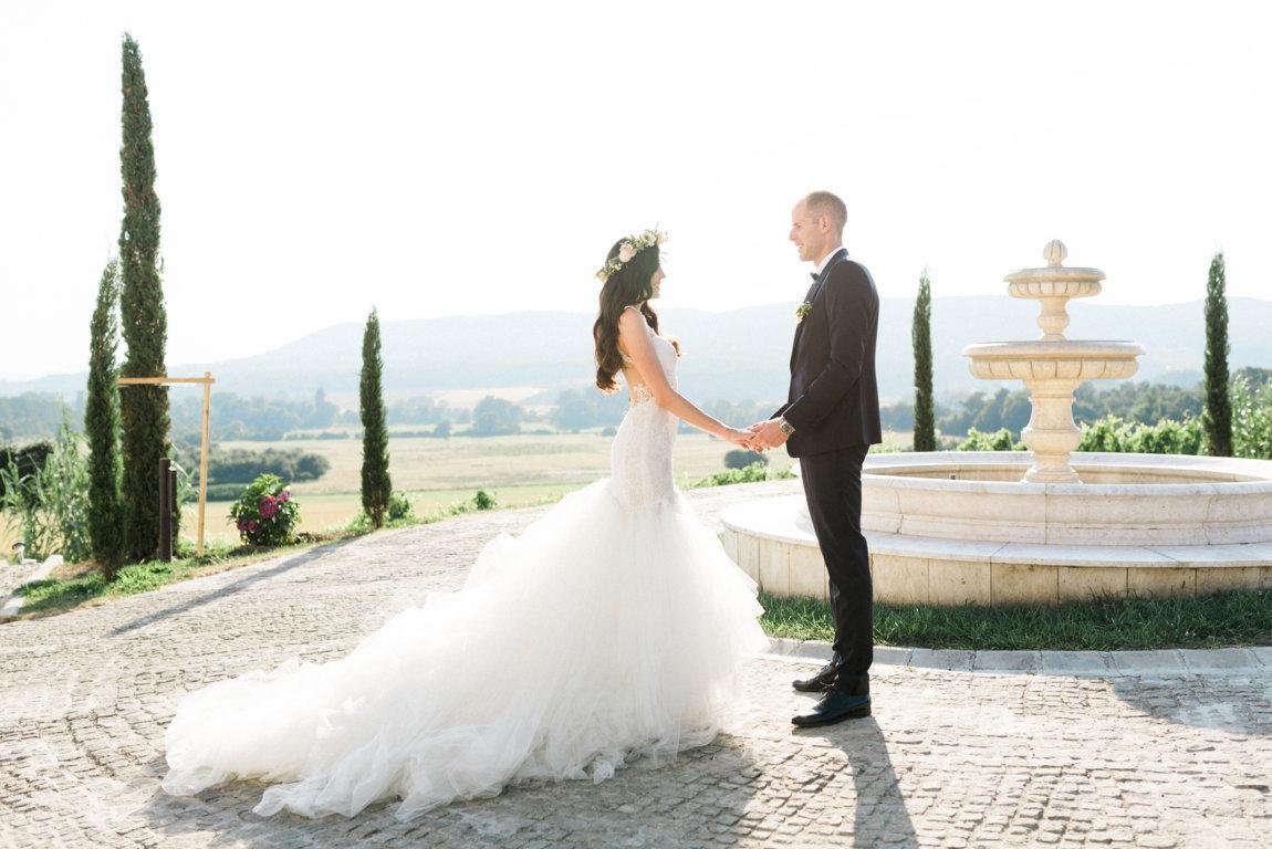 vestido novia con cola galia lahav
