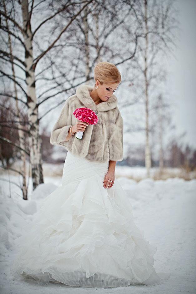 novia chaqueta pelo invierno