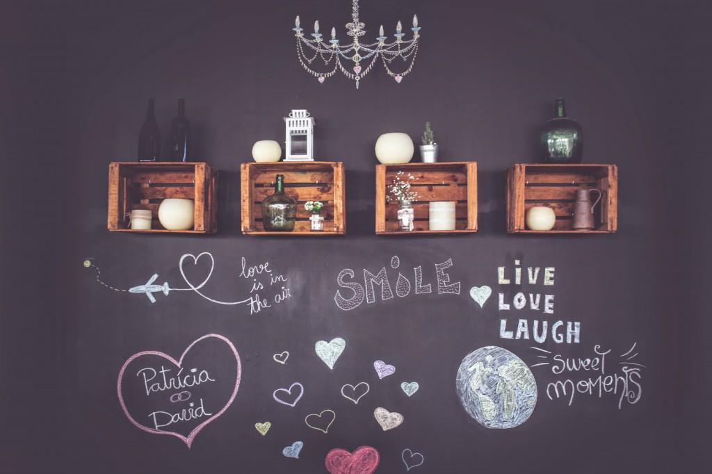 decoración con cajas madera boda