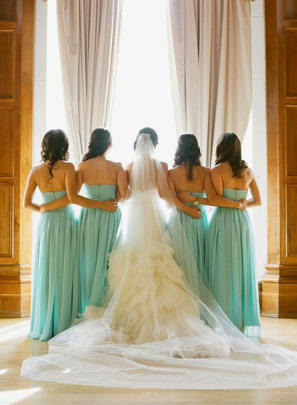 damas de honor color mint