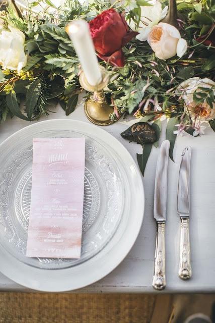 menu boda acuarela