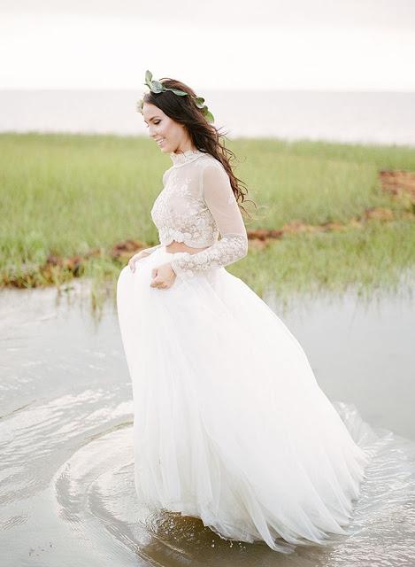 novia vestido crop top