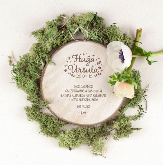 invitacion boda madera