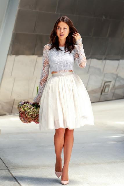 novia crop top vestido corto