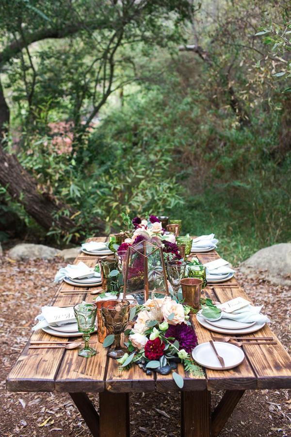 mesa boda madera aire libre