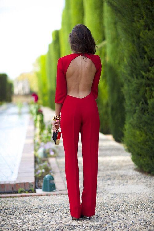 jumpsuit rojo para invitada zalando