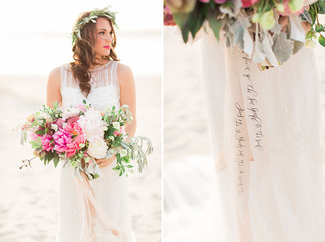 novia con ramo de peonias rosas