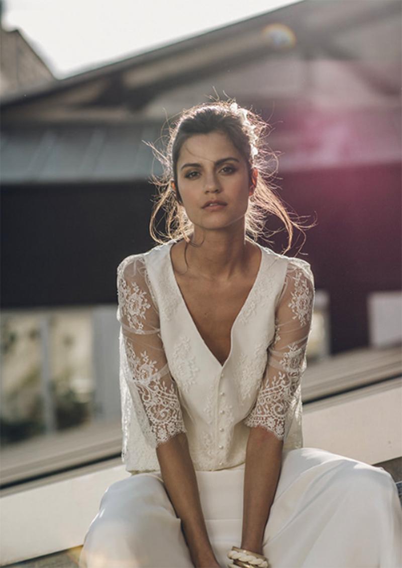 vestido novia encaje laure de sagazan