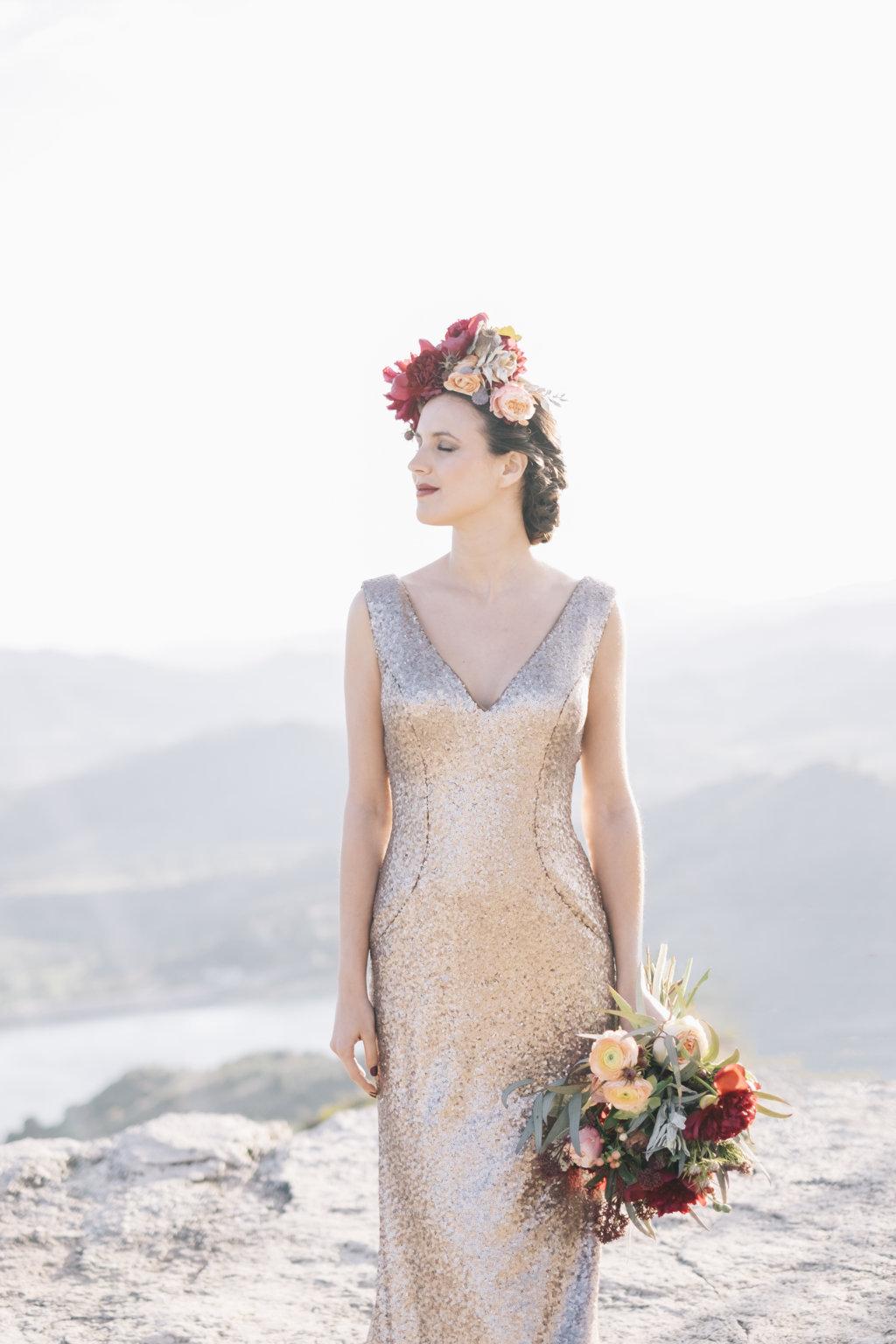 vestido novia dorado pronovias