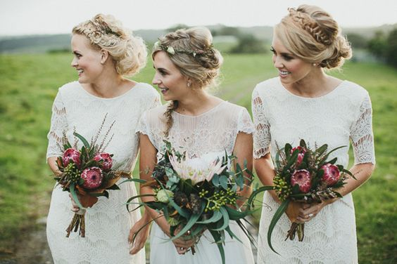 bridesmaids white lace dresses