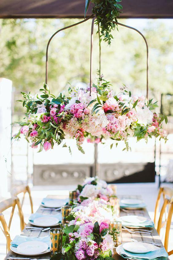 colour wedding hanging centerpiece