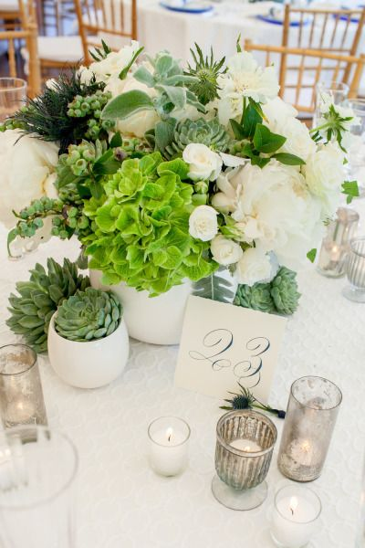centro mesa boda greenery
