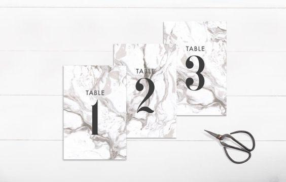 numeros mesa boda marmol