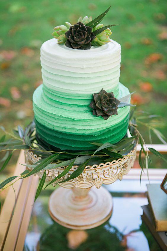 pastel de boda pantone greenery 2017
