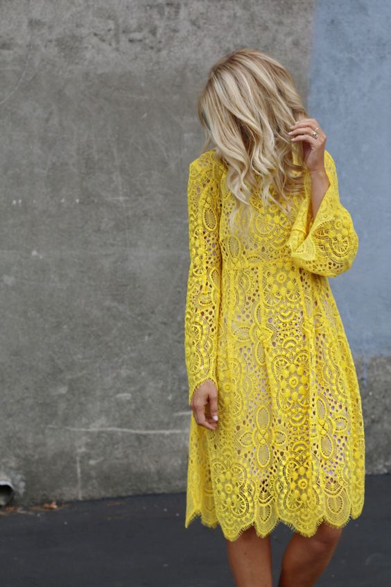 yellow dress guest wedding