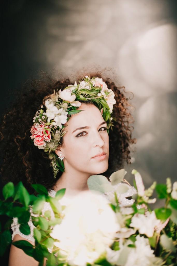 corona flores naturales novia
