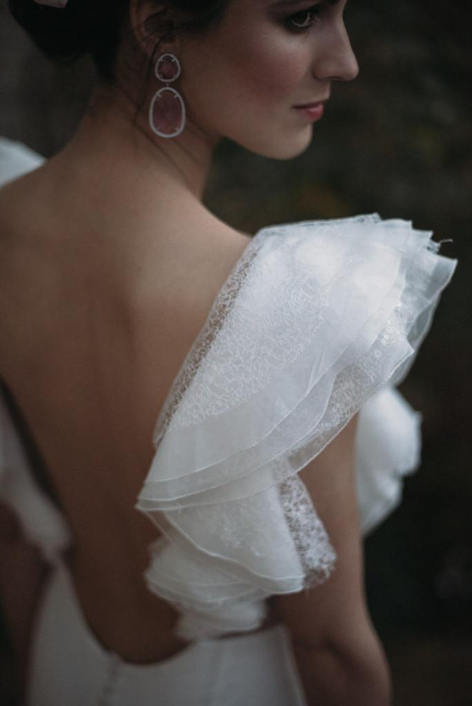 pendientes novia rosas cuarzo