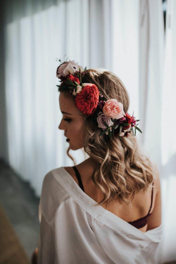 corona floral novia