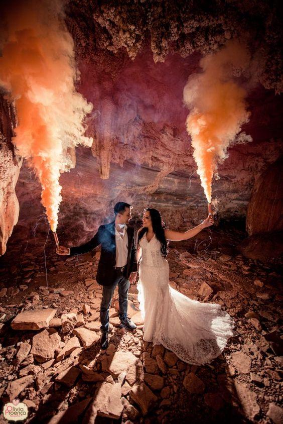 humo de colores bodas