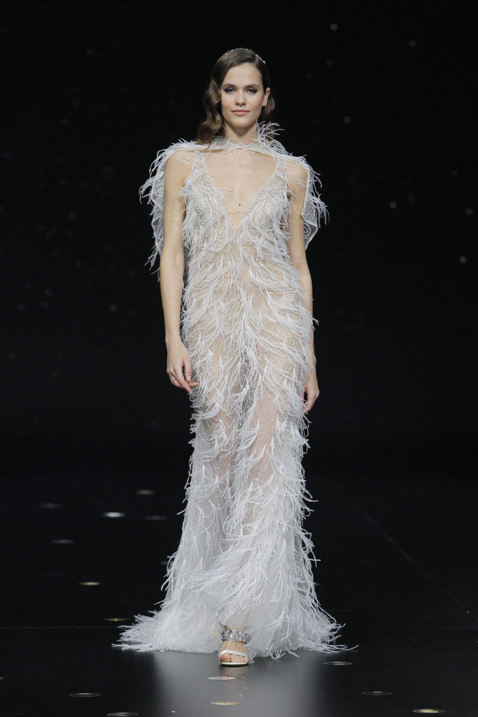 pronovias vestido novia plumas
