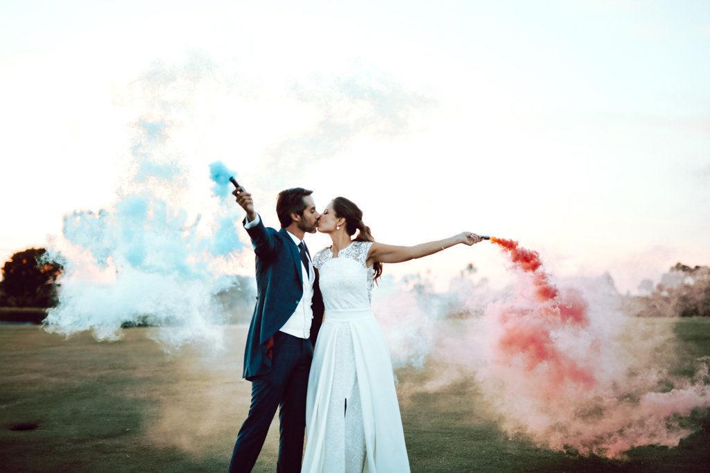 humo de colores boda