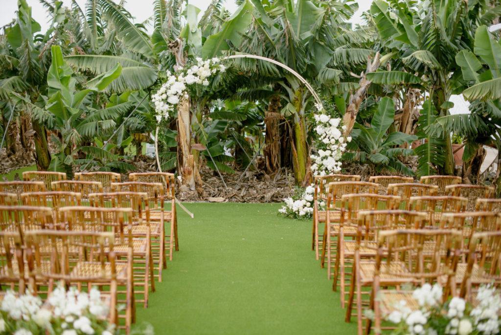 boda altar con arco flores