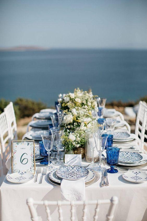 classic blue decoracion boda