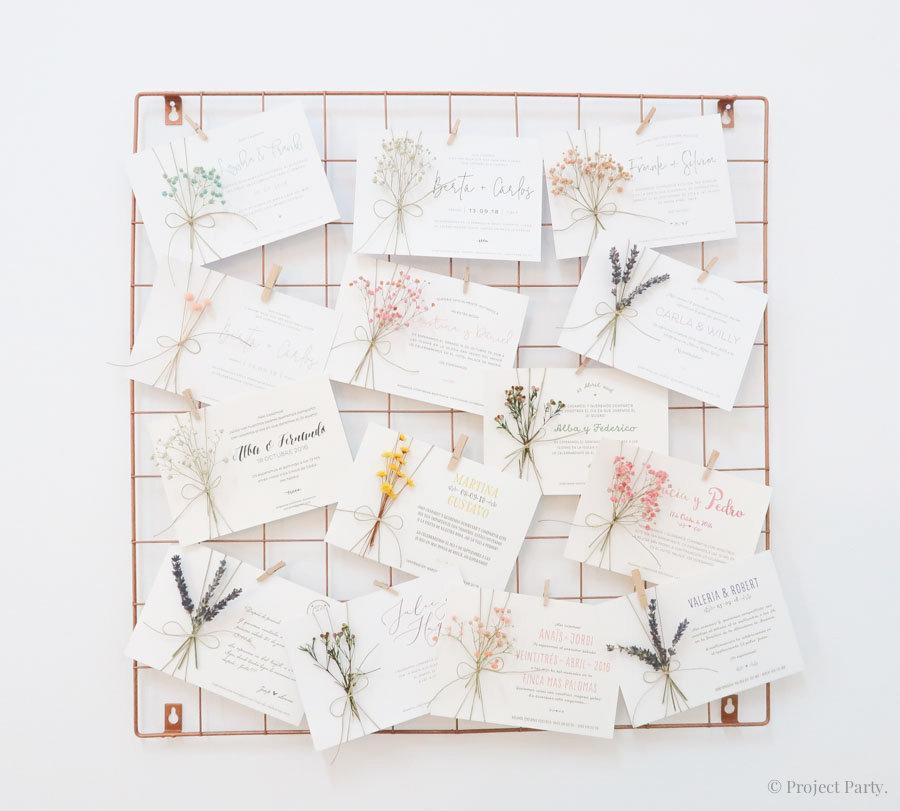 invitaciones con flores preservadas