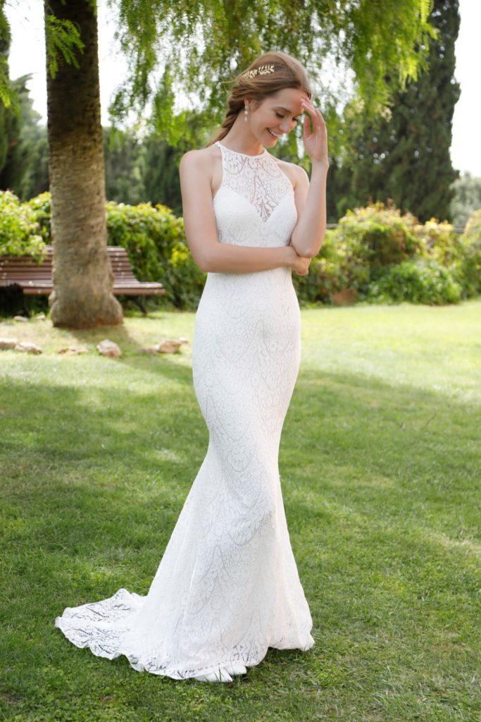 vestido novia low cost cuello halter