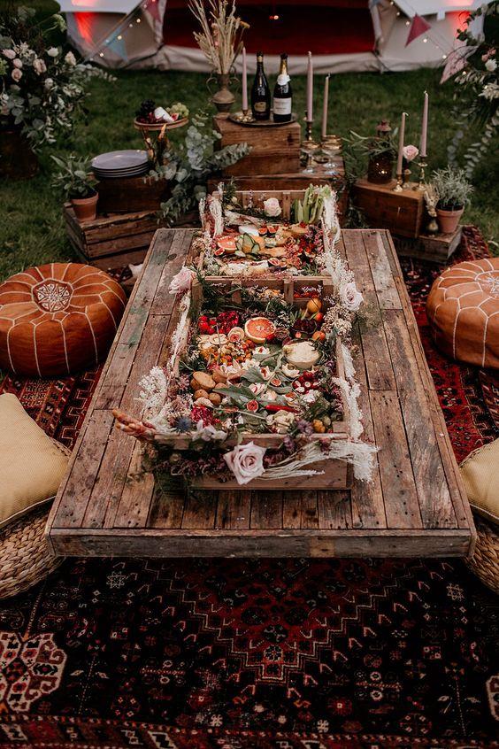 mesa banquete boda glamping