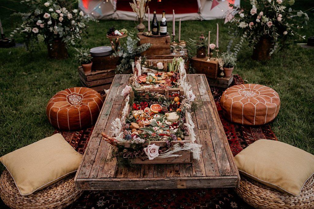 mesa boho chic boda glamping