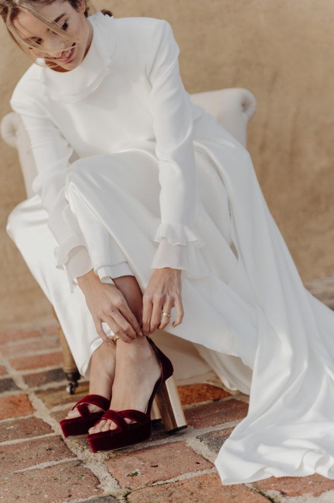 zapatos novia burdeos