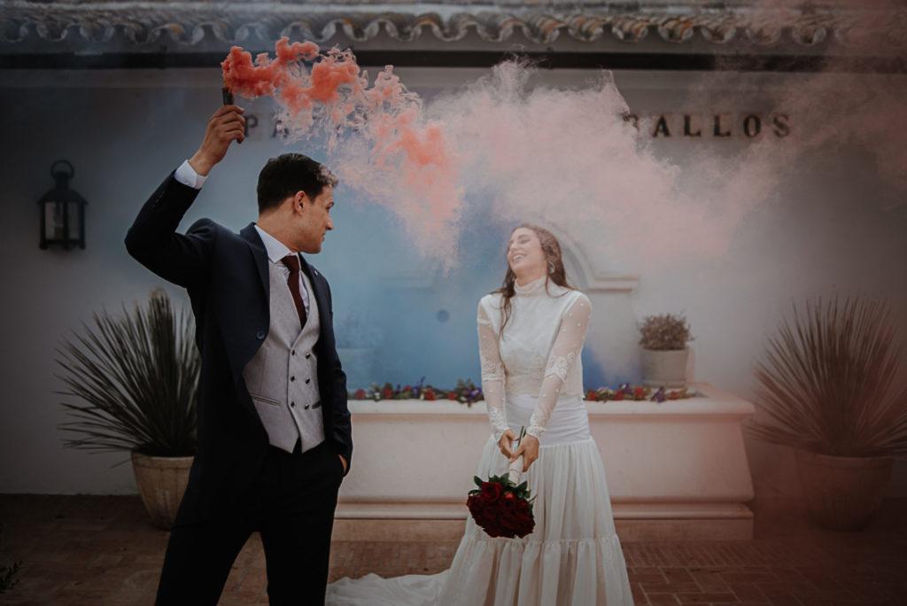 humos de colores boda